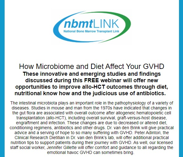 nbmtLINK Webinar: How Microbiome and Diet Affect Your GVHD