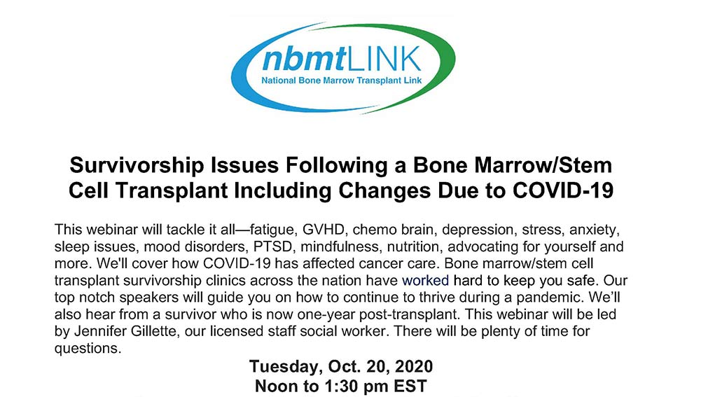 nbmtLINK Webinar: Survivorship Issues Following a Bone Marrow/Stem Cell Transplant Including Changes Due to COVID-19